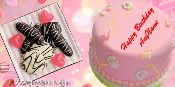 Happy Birthday Pink Cake Name for her/girlfriend/wife