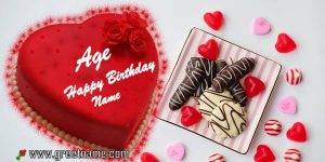 Happy Birthday Red Cake Age Name