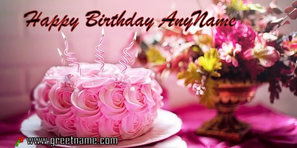 Wish Happy Birthday With Name Using Rose Cake