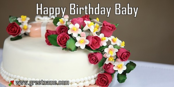Happy Birthday Baby Cake And Flower Greet Name