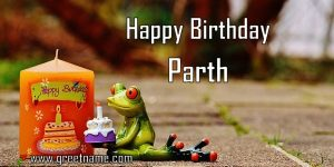 Happy Birthday Parth Candle Frog