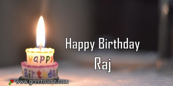Happy Birthday Raj Candle Fire - Greet Name