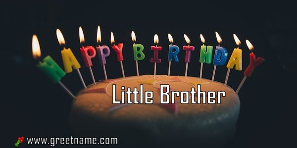 Happy Birthday Little Brother Cake Candle Greet Name