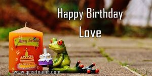 Happy Birthday Love Candle Frog