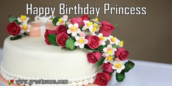 Happy Birthday Princess Cake And Flower Greet Name