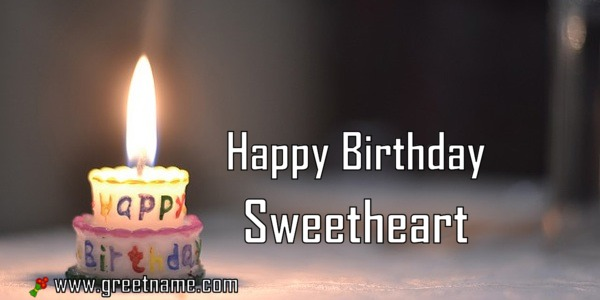 Happy Birthday Sweetheart Candle Fire Greet Name