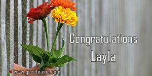 Congratulations Layla Hand Giving Flowers