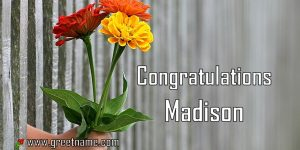 Congratulations Madison Hand Giving Flowers