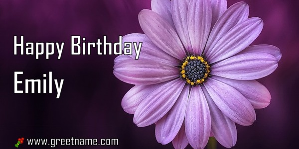 Happy Birthday Emily Flower Purple Greet Name