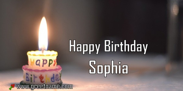 Happy Birthday Sophia Candle Fire Greet Name