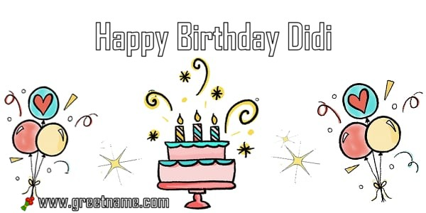 Happy Birthday Didi Cake Balloon Greet Name