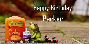 Happy Birthday Parker Candle Frog