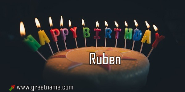 Wondrous Happy Birthday Ruben Cake Candle Greet Name Personalised Birthday Cards Bromeletsinfo