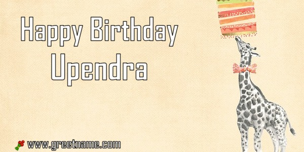 Happy Birthday Upendra Giraffe Cake - Greet Name